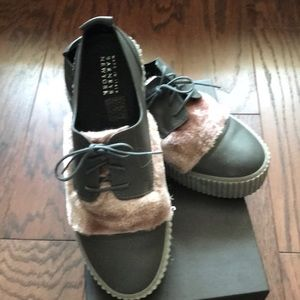 NIB Barney's gray and rose leather shoes